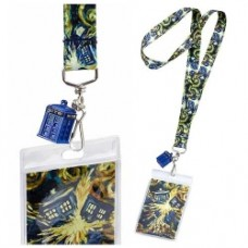 Doctor Who Exploding Van Gogh TARDIS Lanyard with 3-D TARDIS Charm