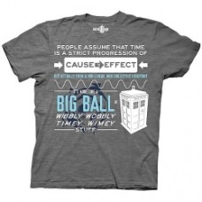 Doctor Who Wibbly Wobbly Timey Stuff Quote Gray T-Shirt