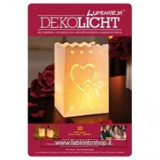 Set 10 lanterne decorative sacchetto di luce, 17 x 12 x 1 cm