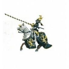 Cavallo e cavaliere del dragone nero e oro
