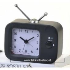 Orologio sveglia da tavolo a forma di televisione in metallo Nero