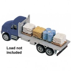 international 4300 3 axle flatbed truck in blue