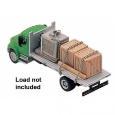 international 4300 2 axle flatbed truck in green