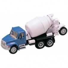 International 4300 4 axle cement mixer in blue an white