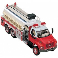 2003 gmc topkick 3 axle fire tanker with pump in red and white