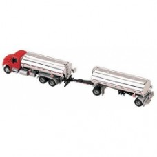 International 4300 3 axle with double tanker trailer red e silver