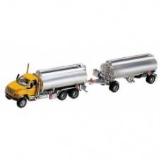gmc 3 axle with double tanker trailer yellow e silver