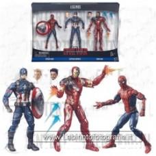 Captain America Civil War Marvel Legends Spider-Man, Captain America, and Iron Man Set