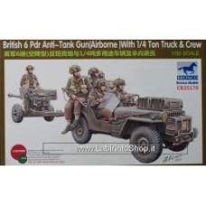 Bronco Models 1/35 British 6 Pdr Anti Tank Gun Airborne with 1/4 Ton Truck and Crew