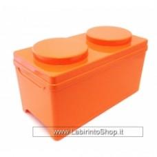 CONTENITORE BRICK 1, misura 17,5 x 35 x 17,5 h cm Arancione