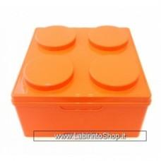 CONTENITORE BRICK 4, misura 35 x 35 x 18,5 h cm, Arancio