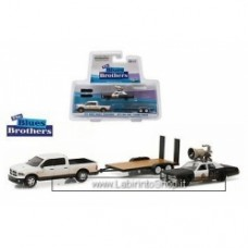 Greenlight 2015 Ram 1500 - 1974 Dodge Monaco Bluesmobile on Flatbed Trailer- Blues Brothers 1980