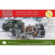 PLASTIC SOLDIER CO: 1/72 British 25pdr con CMP Quad Tractor (2 cannoni + 2 trattori + 28 miniature)
