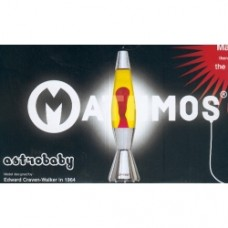lavalamp lampada astrobaby giallo rossa base bianca