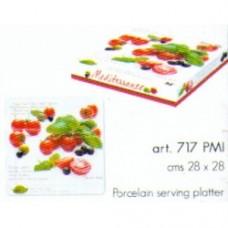 easy life - piatto da portata in porcellana 28x28 pomodori
