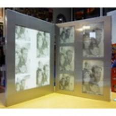 Cornice a libro alluminio per 6 foto