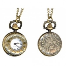 25mm vintage pocketwatch ant. brass with chain