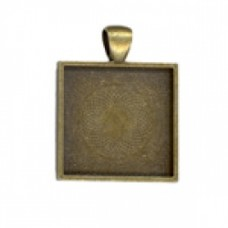 25 mm Square Pendant Tray Gold