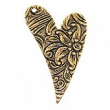 17x26mm Floral Engraved Heart Ant.GOLD