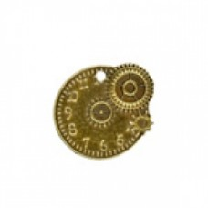 19mm Steampunk Rnd Watchface and Cogs Ant.Brass