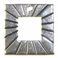 18mm Etched Square charm Ant.SILV