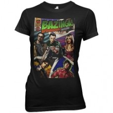 Big Bang Theory Bazinga Comic Cover Black T-Shirt donna