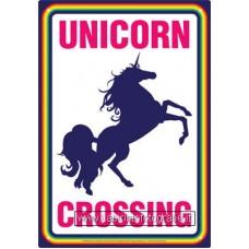 Unicorns Crossing Tin Sign