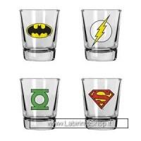 DC Comics Shotglass 4 Pack Heroes Icons