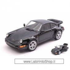 Welly - Porsche 911 Turbo 3.0 Black Die Cast Model - Scale 1:24