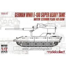 Model Collect Fist of War German E-100 Super Heavy Tank w/128Mm Flak 40 Zwilling Gun 1/72