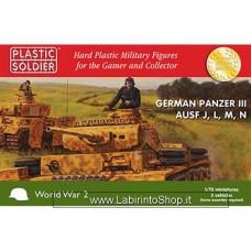 Plastic Soldier World War 2 German Panzer III Aufs J, L, M, N- 3 Vehicles