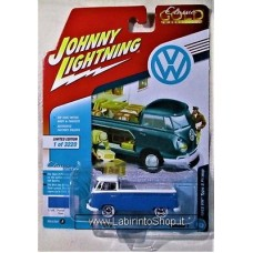 Johnny Lighting - Classic Gold - 1955 Volkswagen Type 2 Pickup - Blue and White