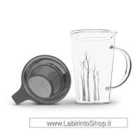 Tisaniera in vetro borosilicato con filtro in acciaio e coperchio in vetro. Decoro inverno. Capacità: 400 ml.