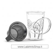 Tisaniera in vetro borosilicato con filtro in acciaio e coperchio in vetro. Decoro Primavera. Capacità: 400 ml