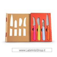 Set 4 coltelli (curvo, multiuso, spelucchino, pelaverdure) e manicatura in legno colorato con imballo libro.