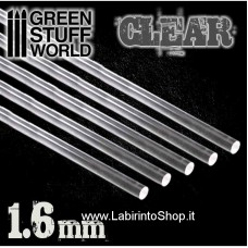 Green Stuff World Acrylic Rods - Round 1.6 mm CLEAR