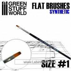 Green Stuff World Flat Synthetic Brush Size 1