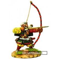 Dixon Minitures - Samurai Wars - 25-21 - Monk Archer, bareheaded shooting bow