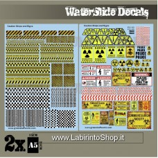 Green Stuff World Waterslide Decals - Caution Strips and Signs