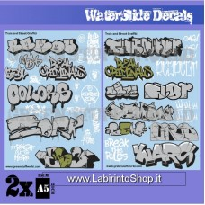 Green Stuff World Waterslide Decals - Train and Graffiti Mix - Silver and Gold