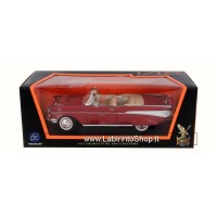 Lucky Die Cast 1957 Chevrolet Bel Air Convertible Red Model Car 1:18