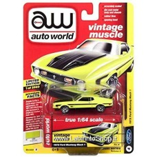 Autoworld Vintage Muscle 1972 Ford Mustand Mach 1 Yellow Premium Series 1/64