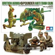 Tamiya Model British Army 6 Pounder Anti-tank Gun 1/35 Scale Kit