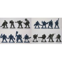 Set of 16 Fantasy Armored Infantry Toy Soldiers 40 mm