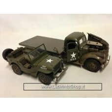 New Ray Classic Armour 1941 Chevy Military Flatbed Truck & Willys Jeep Diecast - 1:32 Scale