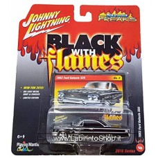 Johnny Lighting - Street Freaks - Black with Flames - 1963 Ford Galaxie 500 (Diecast Car)