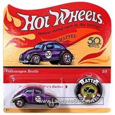 Hot Wheels - 50 Anniversary with Button - Volkswagen Beetle (Diecast Car)