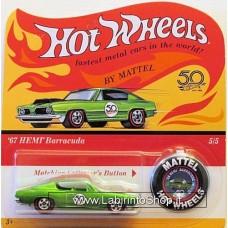Hot Wheels - 50 Anniversary with Button - 1967 Hemi Barracuda (Diecast Car)