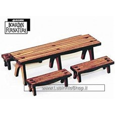 4ground 28mm Scale Trestle Table x1 Benches x4