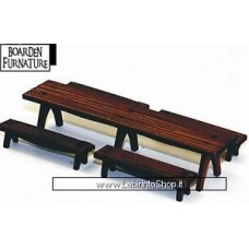 4ground 28mm Scale Trestle Table x1 Benches x4 - 064